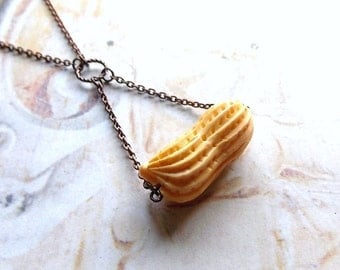 Peanut - Hand Carved Bone Peanut and Oxidized Copper Chain Handmade Necklace