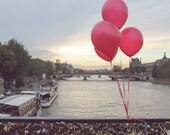 Red Balloons in Paris, Pont des Arts, Paris Photography, Paris Lock Bridge, Valentine's Day in Paris, French Home Decor, Red