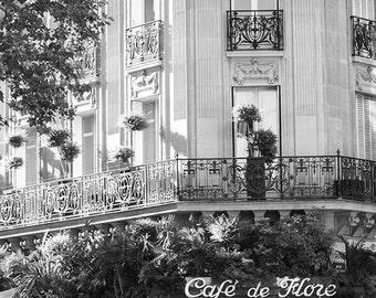Paris Photography - Cafe de Flore in St Germain Des Pres - Classic Paris Cafe - black and white photography - kitchen art, french decor