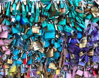 Paris love locks, Paris locks on bridge, Paris Photography, Romantic Art, Paris Wall Art, Paris Decor,teal, blue, pink love lock