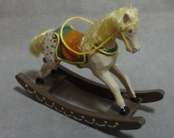 Miniature Blonde Rocking Horse with Green Blanket