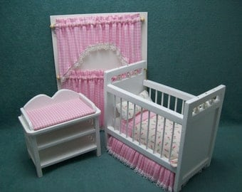 Reduced - One inch scale, Three Piece Dollhouse, Pink and White, Nursery set