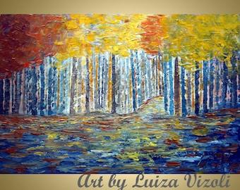 AUTUMN Original Modern Impressionist Fall Trees Landscape Palette Impasto Oil Painting by Luiza Vizoli