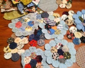 Vintage yo yos and fabric squares
