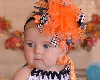 Halloween Black and Orange Chevron Pumpkin Over The Top Funky Bow with Orange Ostrich Puff on headband Free Shipping On All Additional Items