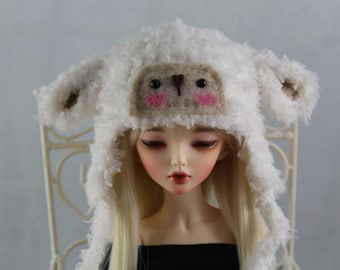Made to Order: Cream Lamb Hats for MSD BJD, 1/4 Dollfie, Minifee With or Without Face