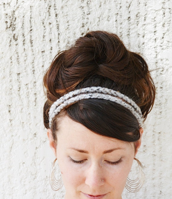 Gray Marble HEADBAND - Boho, Stretchy, Acryic Wool Yarn, Elastic, Brown Wood Bead, Double Strand, Hippie, Crochet, Accessories, Yarnival.