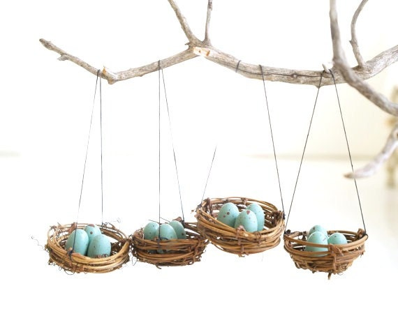 Nest Christmas Ornaments Blue Eggs Tree Decorations By