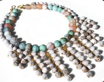 Whimsical Semi Precious India Agate and Seed Pod Beads Handmade Necklace