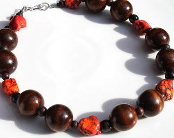 SALE Red Semi Precious Howlite Wood Bead Handmade Necklace