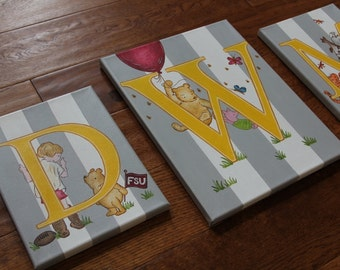 Set of three-Monogrammed Initial Triptych Personalized Classic Winnie the Pooh Wall Art