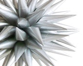 Silver Star Urchin Ornament Modern Christmas Tree Ornament Paper Holiday Decoration Polish Folk Art Tradition 3D Art - Platinum, 4 inch
