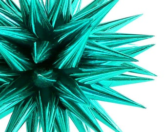 Modern Teal Christmas Tree Decor Star Ornament Spiky Paper Ball Decoration Contemporary Blue Green Home Decor Bauble - 4 inch - Vivid Teal