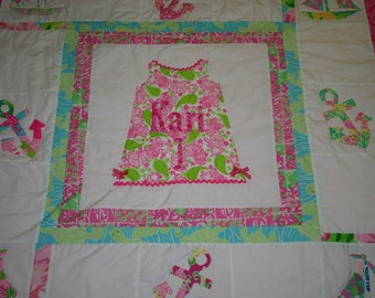 Custom first Birthday Lilly Pulitzer Autograph Quilt
