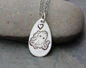 Quirky octopus necklace - handmade fine silver teardrop charm with happy octopus & heart, sterling silver chain - free shipping USA