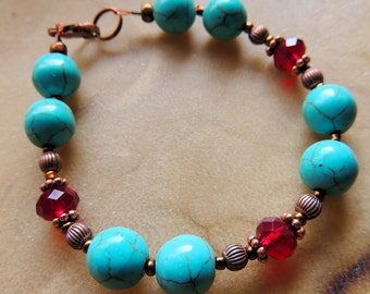 Turquoise and Garnet Crystal Bracelet, Turquoise and Copper Bracelet, Native Inspired Jewelry, Handcrafted Jewelry, Southwestern Style