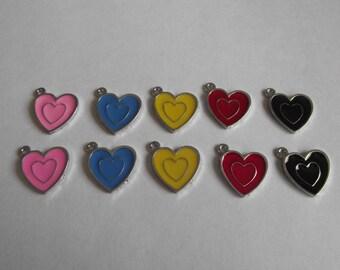 Enamel Hearts- ten charms- silver charms