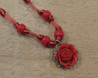 Rose necklace red resin rose glass beads