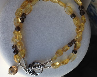 Bracelet - Two Strands of Citrine, Smoky Quartz, and Smoky Quartz Charm