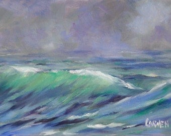 Stormy Day, 7x5 Original Oil Painting Seascape