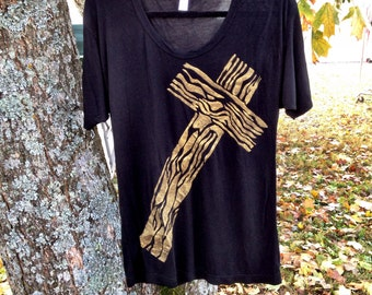 My Boyfriends American Apparel Viscos Rugged Cross Oversized Tshirt Custom Stenciled That is Super Duper Soft and Comfy