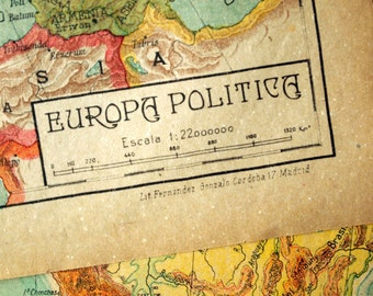 Vintage Political Map of Europe. Vintage Europe Map. From a 1940 Spanish Atlas