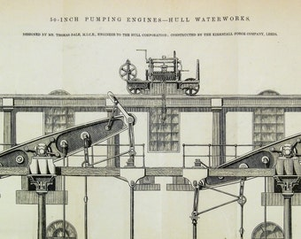 Antique Print of Pumping Engines at  Hull Waterworks, the UK - 1869 Vintage Technical Drawing - Engineering Drawing - Gift for Him