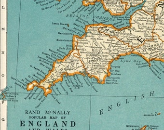 1937 Vintage Map of England and Wales - Inset of the Environs of London - England Wales Vintage Map - Wales Vintage Map