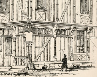 1872 Large Architectural Print showing a Timber House in Beauvais, France.  Plate 11 - Architectural Drawing
