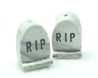 Tombstone Beads - Handmade Halloween Bead Headstone from Polymer Clay - Marbled