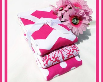 SET of Baby Burp Cloths GIRL in Pink and White ...... 3 Burpcloths of 6 ply PREMIUM Cloth Diapers