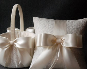 Wedding Ring Pillow and Flower Girl Basket Set - Light Ivory with Satin Bows - Katherine
