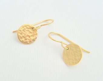 tiny gold earrings hammered small disc textured 14k gold filled dangle everyday simple modern jewelry. drop earrings. gift for her 3/8""