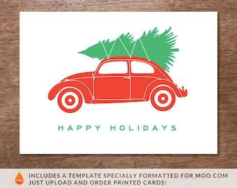 Printable Christmas Card - Christmas Beetle - Volkswagen Bug Christmas Tree - Christmas Card Download - Instant Download - PDF Holiday Card