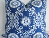 Both Sides -French  Blue  Suzani- Decorative Designer Pillow cover-Royal Blue /Ivory Throw/Lumbar Pillow