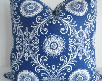 Both Sides -French  Blue  Suzani- Decorative Designer Pillow cover-Royal Blue /Ivory Cream Throw/Lumbar Pillow