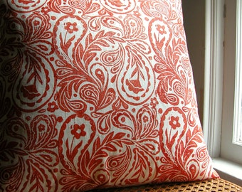 Tangerine red orange paisley on white hand block printed linen decorative colorful home decor pillow case by giardino