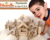 82 Piece Set - Natural Handcrafted Wood Building Blocks - Handmade in the Pacific Northwest