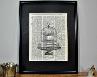 FRAMED 11x14 - Vintage Birdcage Page Dictionary Print