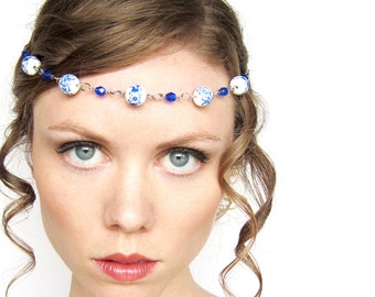 Oriental Fantasy Circlet in White Blue and Silver