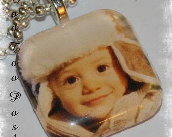 Glass Photo Pendant Necklace