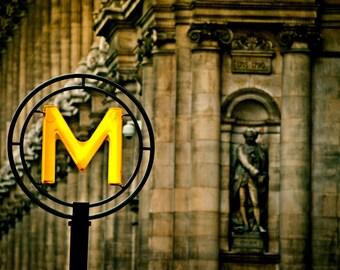 Paris Photograph. M is for Metro 8x12