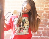 girl from the country / red vintage pullover with cow and cutout neckline