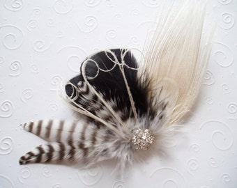 Ivory Peacock Feather Hair Clip WEDDING Hair Piece Bridal Accessories Fascinator bridesmaid black