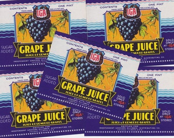 5 x  Vintage Grape Juice Labels Colourful for Collage Altered Arts