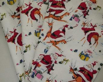 Kitschy Santa Napkins Set of 4 Santa's Reindeer