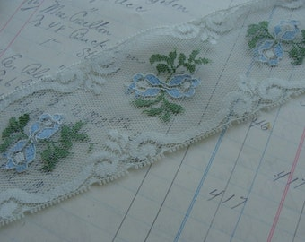 2 Yards of Beautiful Baby Blue Wedding Vintage Netted Lace