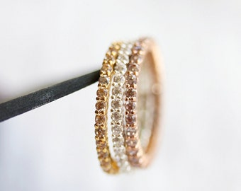 Eternity Delicate Cubic Zirconia Stack Ring-Pave Ring,Stackable,Silver,Rose Gold,Gold,Birthday,Skinny Ring,Layering Ring