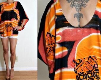 Vintage Upcycled Orange & Black Batik Print Plunging Backless Caftan FESTIVAL Blouse Top S/M