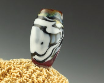 Black and white landscape dreadlock bead